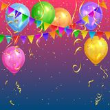 Festive design. Colorful bright confetti and realistic air balloons. Festive design. Colorful bright confetti, realistic colorful air balloons and flags garlands Royalty Free Stock Images