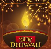 Festive Design for Diwali with Diya Lamp and Fireworks, Vector Illustration. Poster for Diwali celebration with a lighted diya -oil lamp- in a night with Stock Photography