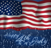 Festive design for fourth of July Independence Day USA. With realistic american flag, firework and glitter text. Stock Photos