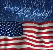 Festive design for fourth of July Independence Day USA. With realistic american flag, firework and glitter text. Stock Photography