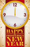Confetti and Clock Marking the Beginning of the New Year, Vector Illustration Royalty Free Stock Photos