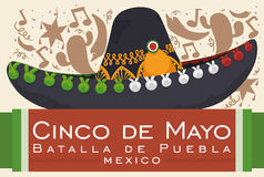 Festive Design with Mexican Mariachi Hat for Cinco de Mayo, Vector Illustration. Poster with festive background silhouette and mariachi hat for Mexican Stock Images