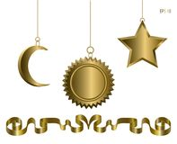 Festive design for the New Year and Christmas. Realistic Holiday Golden Toys on a chain Isolated on White Background. Moon, Star and Sun. Vector illustration Royalty Free Stock Image