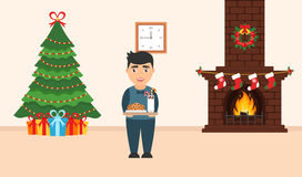 Festive design of the room. Brick fireplace, Christmas wreath, milk and cookies. For cute Santa, festive decorated tree,gifts and boy. Vector in flat style Royalty Free Stock Images