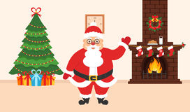 Festive design of the room. Brick fireplace, Christmas wreath, milk and cookies for cute Santa, festive decorated tree and gifts. Stock Image