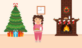 Festive design of the room. Brick fireplace, Christmas wreath, milk and cookies for cute Santa, festive decorated tree,gifts and g. Irl. Vector in flat style Stock Photos
