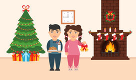 Festive design of the room. Brick fireplace, Christmas wreath, milk and cookies for cute Santa, festive decorated tree,gifts, girl. And boy. Vector in flat Stock Photo