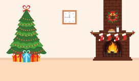 Festive design of the room. Brick fireplace, Christmas wreath, milk and cookies for Santa, festive decorated tree and gifts. Illus. Tration.Merry Christmas and Stock Images