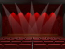 Festive design with wooden  stage and seats. 3d rendering Stock Photos