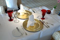 Festive dining table set. A festive dining decoration, luxury tabel set stock photography