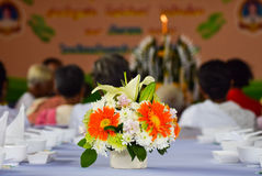 Festive dining table setting with flowers. Background Stock Photos