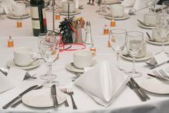 Festive dinner. Arrangement with glasses and cutlery Royalty Free Stock Image