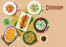 Festive dinner dishes icon for healthy menu design. Festive dinner menu icon of chicken liver with apple and ginger sauce, mushroom rice, vegetable salad with Stock Photography
