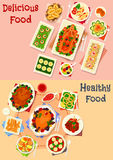 Festive dinner menu icon set with meat and snacks Royalty Free Stock Photos