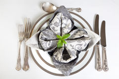 Festive dinner table in silver and grey Stock Images
