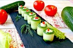 Festive dish of cucumbers. Tasty nourishingly beautiful Royalty Free Stock Image