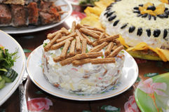 Festive dish with mayonnaise and crackers Royalty Free Stock Photos