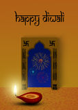 Festive Diwali. Happy Diwali Illustration: red diya (a cup-shaped indian oil lamp) in front of an indian ornamental window with fireworks outside Royalty Free Stock Image