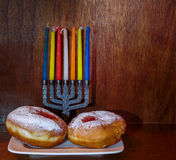 Festive donuts with jam for Hanukkah Stock Photo