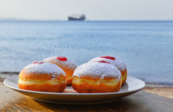 Festive donuts with jam Royalty Free Stock Photography