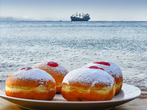 Festive donuts with jam Royalty Free Stock Photos