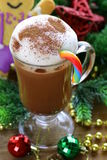 Festive drink (chocolate, cocoa, coffee) with milk foam Stock Image