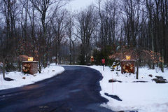 Festive Driveway in Winter Royalty Free Stock Images