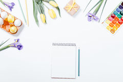 Festive Easter arrangement of flowers, painted eggs, watercolors Royalty Free Stock Photography