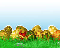 Festive Easter background. With eggs on grass Stock Photos