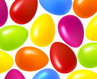 Festive Easter background. Multi-colored Easter eggs on a white background Stock Photography