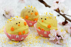Festive Easter chicken candy mini ball. Fun idea for kids party Stock Photo