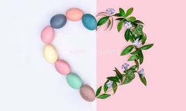 A festive Easter composition. view from above. concept of the spring and the feast of the Passover.  Royalty Free Stock Photography