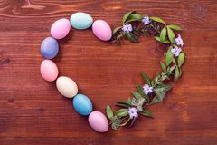 A festive Easter composition. view from above. concept of the spring and the feast of the Passover.  Stock Photography
