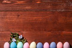 A festive Easter composition. view from above. concept of the spring and the feast of the Passover.  Royalty Free Stock Image