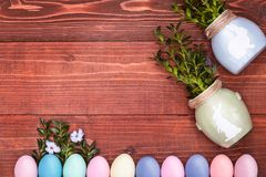 A festive Easter composition. view from above. concept of the spring and the feast of the Passover.  Royalty Free Stock Photos