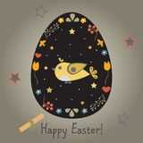 Festive Easter Egg with Cute Bird. From Happy Easter Animal Coll. Ection Royalty Free Stock Image