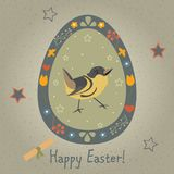 Festive Easter Egg with Cute Bird. From Happy Easter Animal Coll. Ection. Creative Card. Vector Illustration Stock Photos