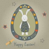 Festive Easter Egg with Cute Character of Bunny in Funny Dress. Vector Illustration Stock Photo