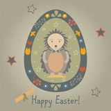 Festive Easter Egg with Cute Character in Funny Dress. From East Royalty Free Stock Photos