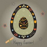 Festive Easter Egg with Cute Egg inside. From Happy Easter Colle. Ction. Creative Card. Vector Illustration Stock Image