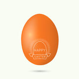 Festive Easter egg. Deco vintage emblem with eggs sun rays and ribbon Stock Photo