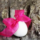 Festive Easter Egg on Wood Square Card Royalty Free Stock Image
