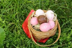 Festive easter eggs royalty free stock image