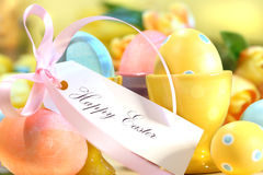 Festive easter eggs. Festive decorations and eggs with card that reads Happy Easter Royalty Free Stock Photos