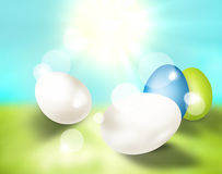 Festive easter eggs bright light. Modern festive graphic Stock Photo