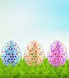 Festive Easter eggs on the grass. Vector art illustration Stock Images
