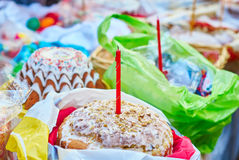 Festive Easter food and religious candles Royalty Free Stock Photos