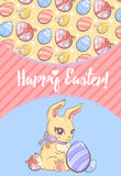 Festive Easter Poster. With greeting text colorful ornate eggs and cute rabbit vector illustration Stock Images