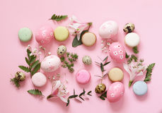 Festive Easter spring composition with flowers Stock Images