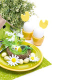 Festive Easter table setting, isolated. On white Royalty Free Stock Images